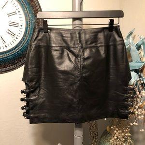 Wilson's Leather Black Moto Mini skirt
